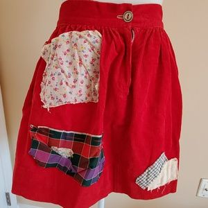 Other - RED CORDUROY RAGEDY ANN COSTUME SKIRT